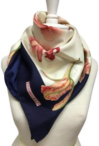 Tiffany & Co. Navy, ivory and pink floral silk twill scarf