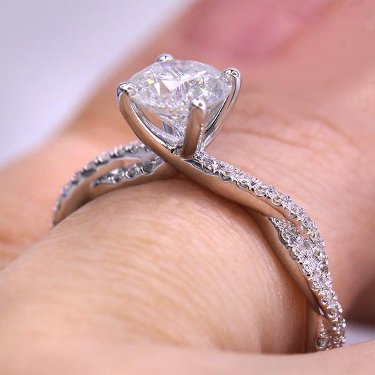 White Gold 1.29cts Fascinating Pave Twist Diamond Engagement Ring Image 2