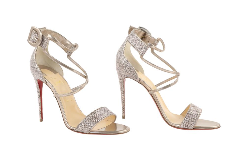huge discount 414e0 2fc37 Christian Louboutin Silver Choca Lux Ankle Strap Sandal Glitter Diams 130mm  Pumps Size EU 42 (Approx. US 12) Regular (M, B) 6% off retail