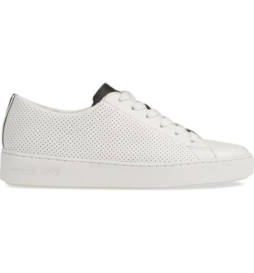 Michael Kors Mk Logo Color-blocking Perforated Leather White Athletic Image 4