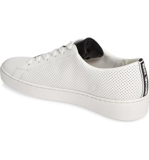 Michael Kors Mk Logo Color-blocking Perforated Leather White Athletic Image 8