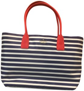 Kate Spade Catie Catie Handles Stripes Tote in Red navy white