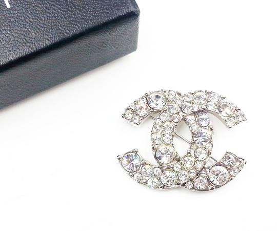 Chanel Chanel Silver CC Round Crystal Shiny Brooch Image 1