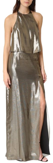 Item - Gold Halter Neck Metallic Gown Long Formal Dress Size 4 (S)