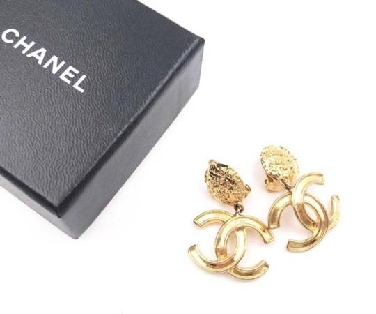 Chanel Chanel Vintage Gold Plated CC Textured Clip on Earrings Image 1