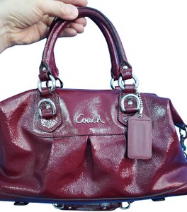 Coach Patent Leather Monogram Silver Silver Hardware Satchel in maroon/red