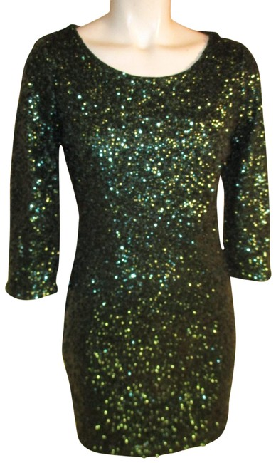 Item - Green 3/4 Sleeve Sequined Night Out Short Cocktail Dress Size 4 (S)