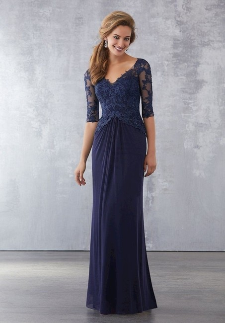 Navy Lace/Jersey 198015 Formal Bridesmaid/Mob Dress Size 18 (XL, Plus 0x) Navy Lace/Jersey 198015 Formal Bridesmaid/Mob Dress Size 18 (XL, Plus 0x) Image 1