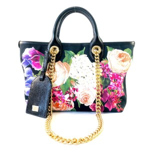 60675c2819 Dolce&Gabbana Canvas Floral Capri Chain Leather Tote in black/multi