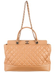 Chanel Timeless Gst Grand Shopping Cc Logo Be Cc Tote in Beige Tan Nude Silver