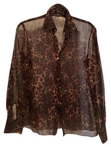 Tahari Silk Leopard Longsleeve Top black, brown