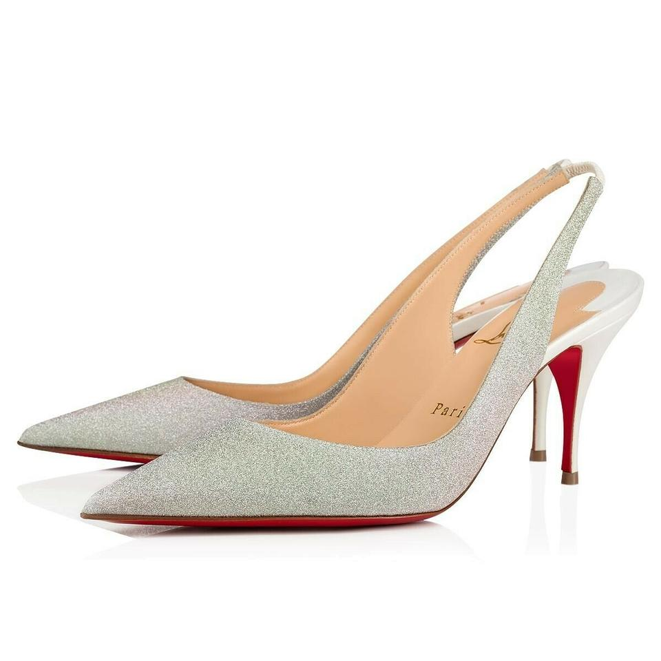 online store 8d89e 11276 Christian Louboutin White Clare Sling 80 Ab Snow Silver Glitter Slingback  Low Heel Pumps Size EU 38 (Approx. US 8) Regular (M, B)