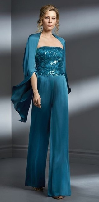 Jade Couture Teal Sequin/Tiffany Chiffon Formal Bridesmaid/Mob Dress Size 14 (L) Jade Couture Teal Sequin/Tiffany Chiffon Formal Bridesmaid/Mob Dress Size 14 (L) Image 1