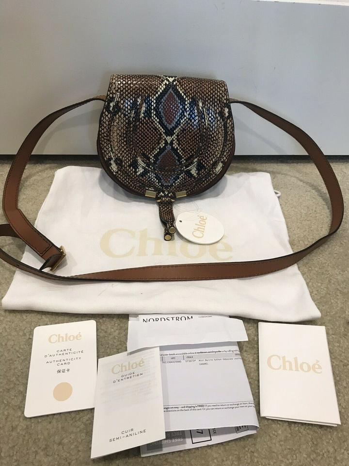 a8083851 Chloé Marcie Small Python Embossed Caramel Leather Cross Body Bag 22% off  retail