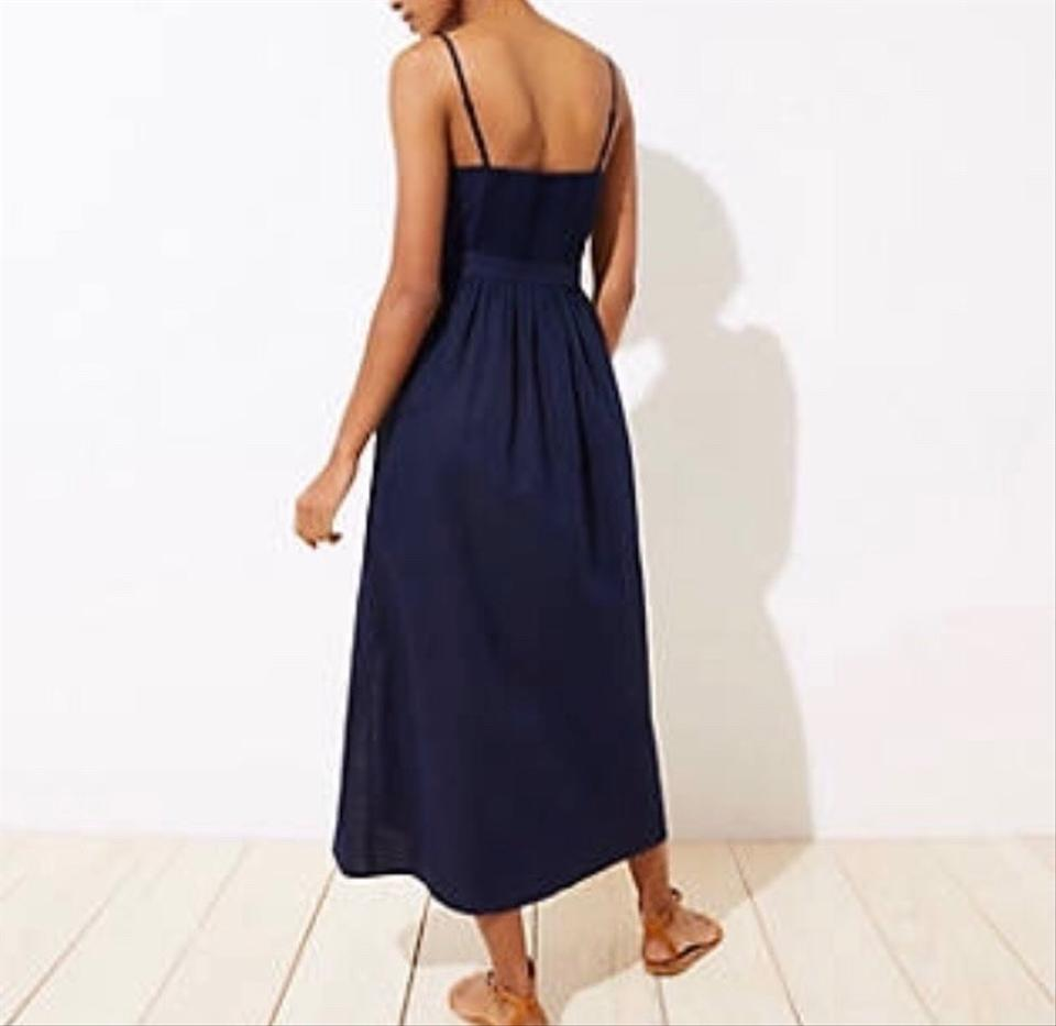 Ann Taylor Loft Navy Tie Waist Long Casual Maxi Dress Size 2 Xs 52 Off Retail
