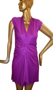 Saint Laurent short dress Purple Sleeveless Low Neck Stretchy on Tradesy