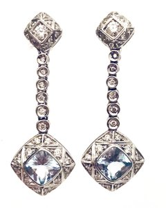 Asprey ASPREY 18k WHITE GOLD PAVE DIAMOND & AQUAMARINE WINDSOR DROP EARRINGS