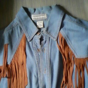 Lord & Taylor Button Down Shirt Denim and Suade Fringe Shirt