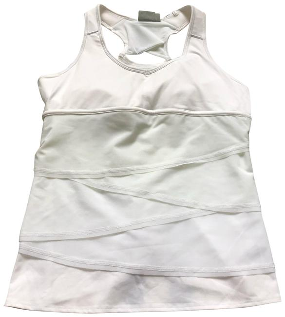 Item - White Swagger Tank Tiered Ruffle Mesh Activewear Top Size 16 (XL, Plus 0x)