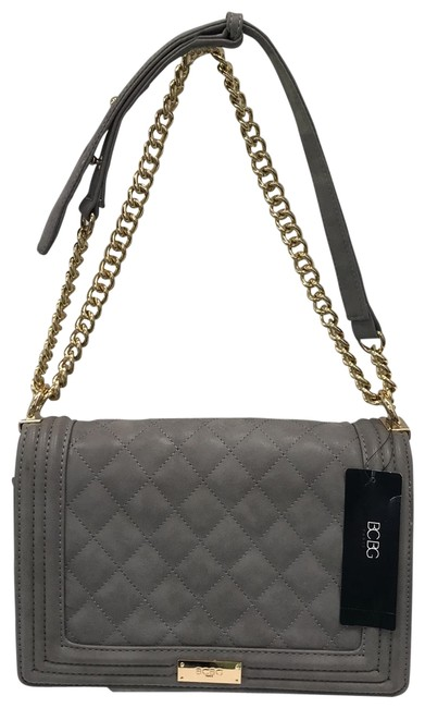 Item - Bcbg Quilted Purse with Gold Accents Grey Shoulder Bag