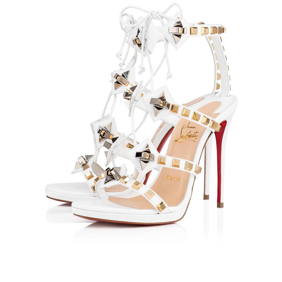 save off 4cc53 1a669 Christian Louboutin Snow White Multiplaticool 120 Studded Gladiator Sandals  Size EU 39 (Approx. US 9) Regular (M, B) 29% off retail