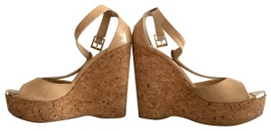 Jimmy Choo nude patent Wedges