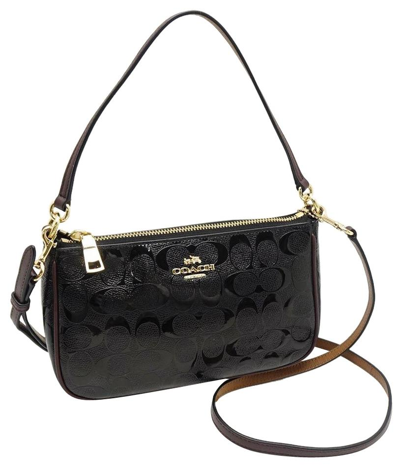 3a80265d Coach F56518 Top Handle Pouch In Signature Debossed Black Patent Leather  Cross Body Bag 44% off retail