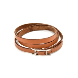Hermès Hermes Api III Brown Leather Silver Tone H Logo Wrap Bracelet