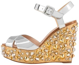 4c1d315908 Christian Louboutin Wedding Studded Spiked Cork Silver Sandals