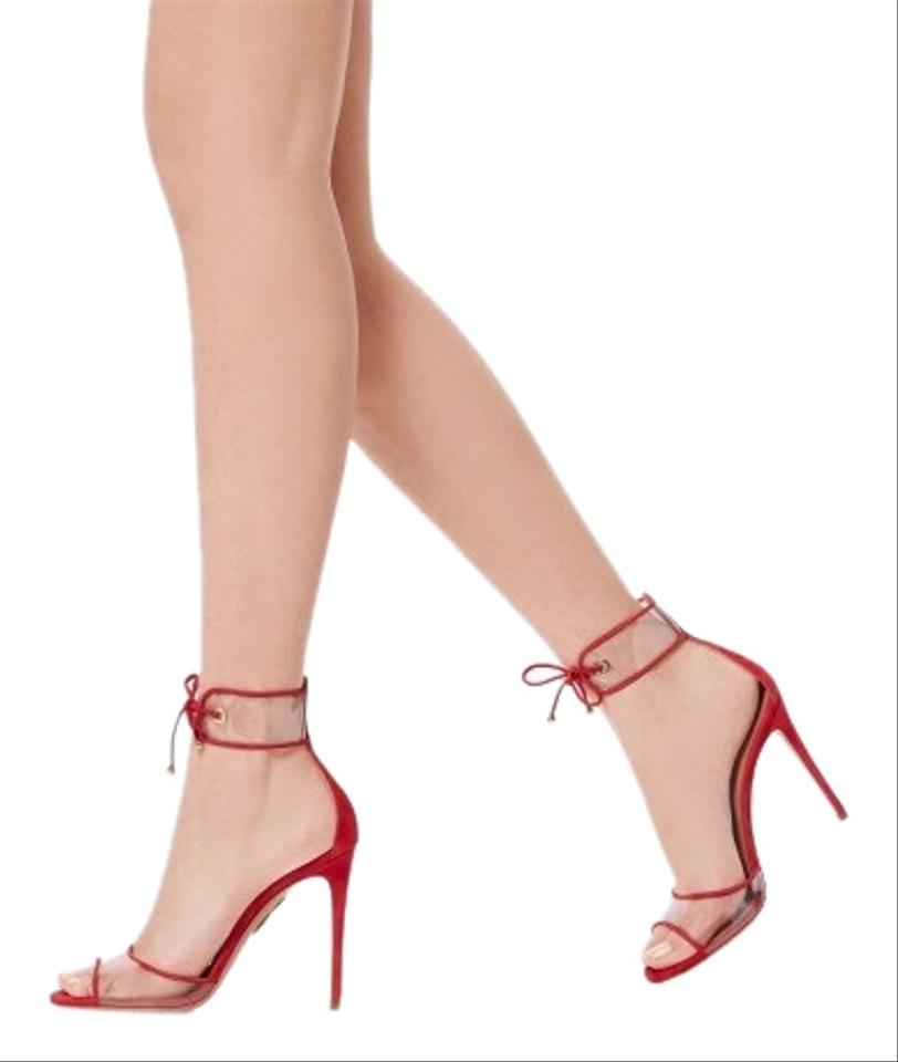 196011a1041 Aquazzura Red Carnation Optic Suede Sandals Size EU 39 (Approx. US 9)  Regular (M, B) 69% off retail