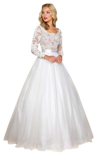 Item - White Illusion Lace and Tulle Ballgown Long Formal Dress Size 12 (L)