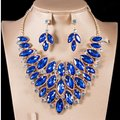 Royal Blue Lovely Rhinestone Crystal Statement Party Choker Jewelry Set