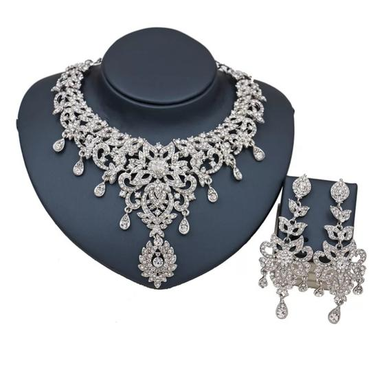 Preload https://item4.tradesy.com/images/silver-and-clear-austrian-crystal-necklace-earrings-turkey-choker-jewelry-set-25535548-0-3.jpg?width=440&height=440