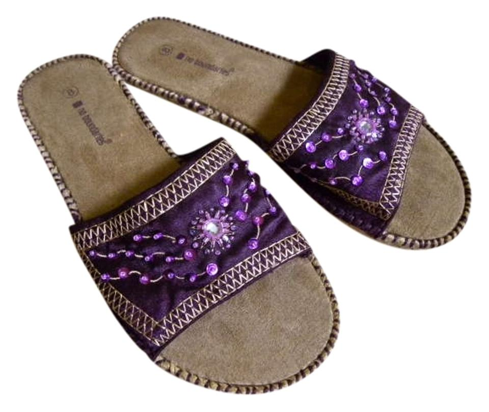 c4218e971 No Boundaries Purple Beaded Slip-ons Sandals Size US 8 - Tradesy