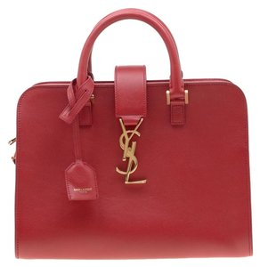 Saint Laurent Leather Suede Tote in Red