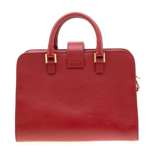 Saint Laurent Leather Suede Tote in Red Image 1