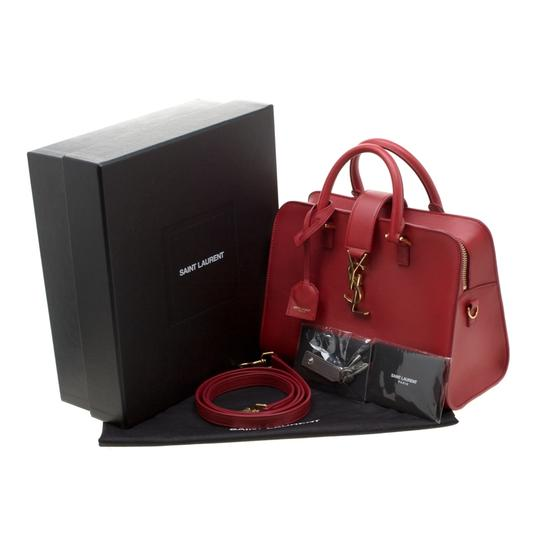 Saint Laurent Leather Suede Tote in Red Image 10