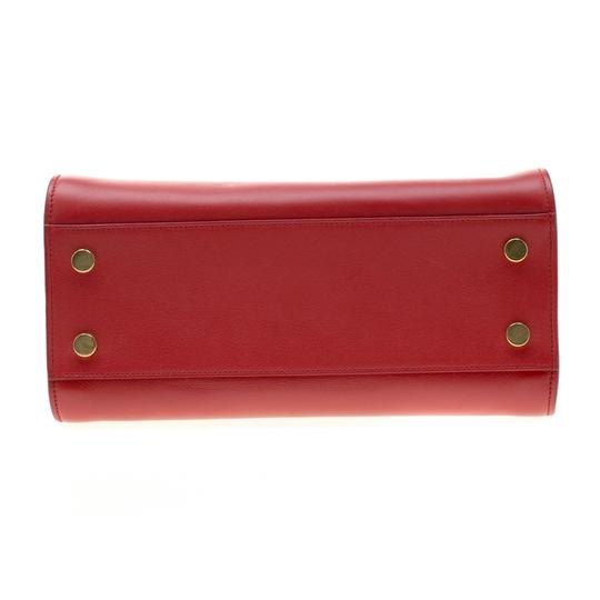 Saint Laurent Leather Suede Tote in Red Image 4