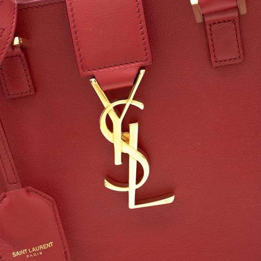 Saint Laurent Leather Suede Tote in Red Image 8