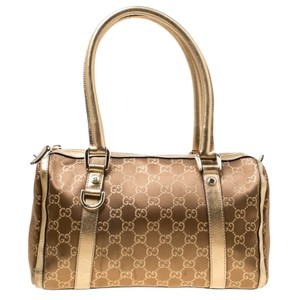 Gucci Leather Metallic Satchel in Gold