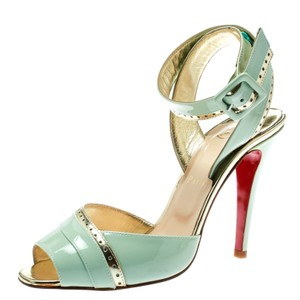Christian Louboutin Patent Leather Ankle Strap Green,Gold Sandals