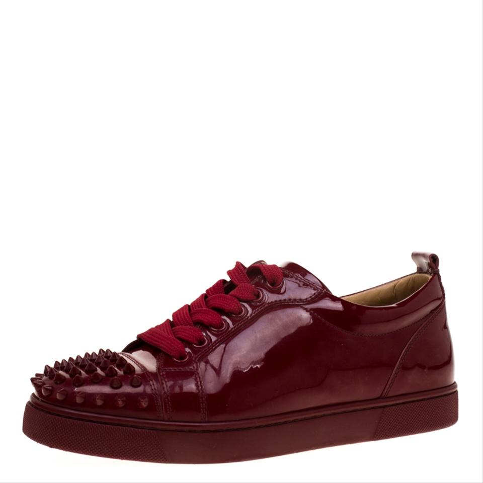 new style dca3c 8a6ac Christian Louboutin Burgundy Patent Leather Louis Junior Spikes Sneakers  Flats Size EU 38.5 (Approx. US 8.5) Regular (M, B) 38% off retail