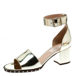 Valentino Ankle Strap Leather Gold Sandals