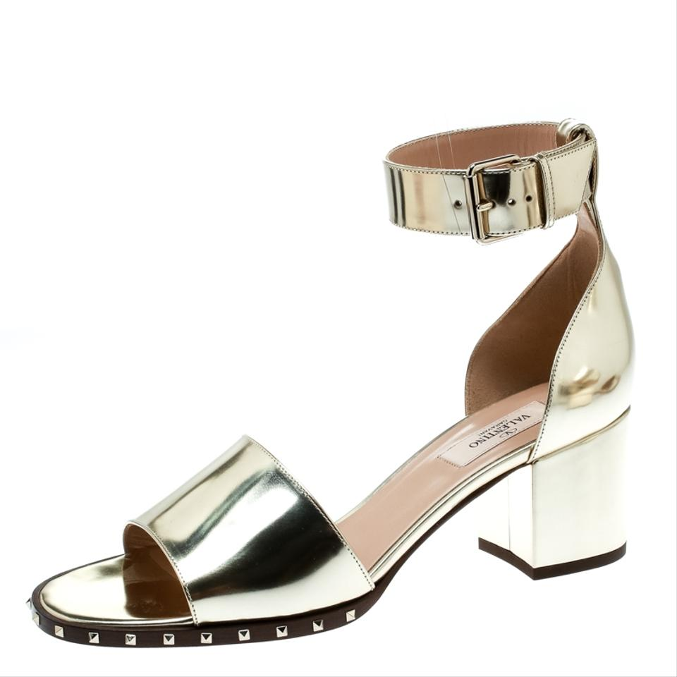 8a7007163 Valentino Gold Metallic Leather Soul Rockstud Block Sandals Size EU ...