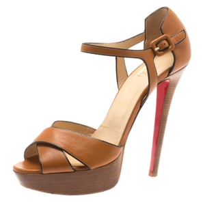 Christian Louboutin Leather Platform Ankle Strap Brown Sandals