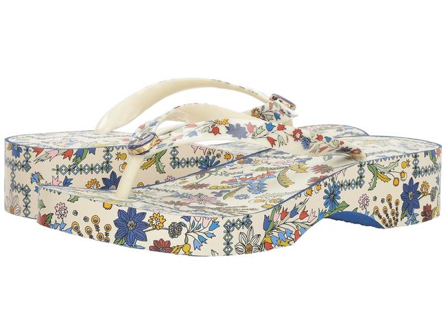 Item - Ivory/Meadow Sweet Printed Cut Out Flip-flop Wedges Size US 10 Regular (M, B)