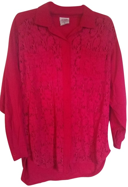 Item - Pink Lacey Floral Button-down Top Size 10 (M)