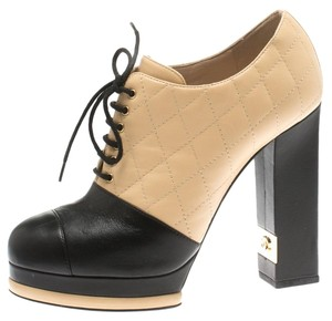 Chanel Quilted Leather Platform Beige Boots