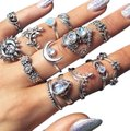 Unique Jewels vintage boho floral moon sun tribal 14pc wedding bridal engagement opal fashion gypsy silver jewelry ring set Image 0