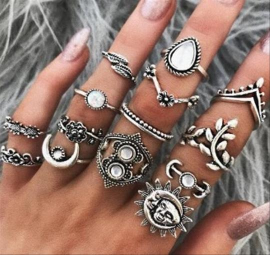 Unique Jewels vintage boho floral moon sun tribal 14pc wedding bridal engagement opal fashion gypsy silver jewelry ring set Image 1
